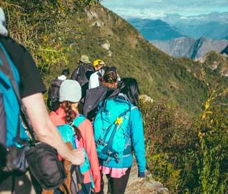 Students hiking